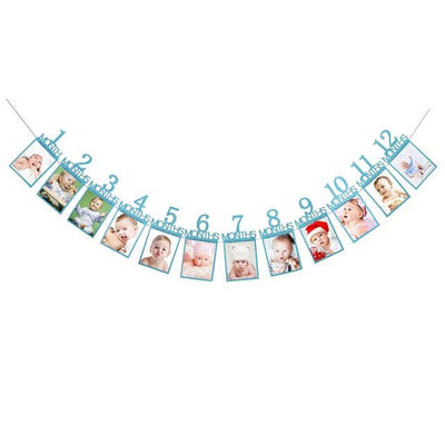 Baby Birthday Banner - blue number