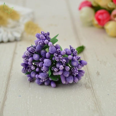 Handmade Stamen Flower Set (12Pcs) - 7 purple