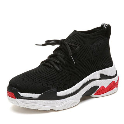 Sports Sneaker Shoes - Black with Red Sole / 38