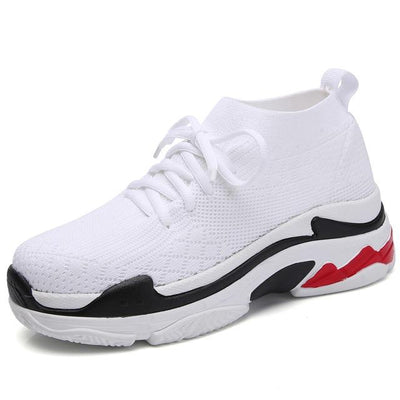Sports Sneaker Shoes - White with Red Sole / 38