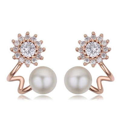 Luxury Fashion Freshwater Pearl Stud Earrings - ED17 Rose Gold