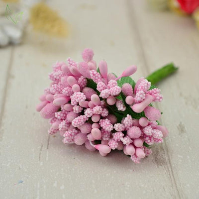Handmade Stamen Flower Set (12Pcs) - 8 pink