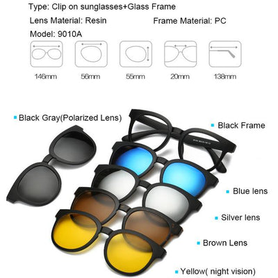 5 in 1 Magnetic Lens Swappable Sunglasses - 9010A
