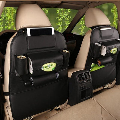 Faux Leather Car Back Seat Organizer - black