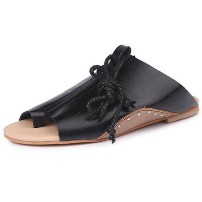 Ankle Strap Flat Shoes for Women - black / 5