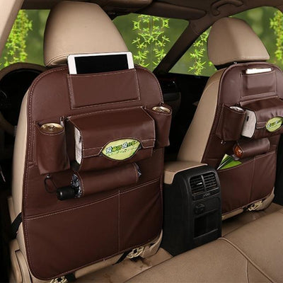 Faux Leather Car Back Seat Organizer - brown