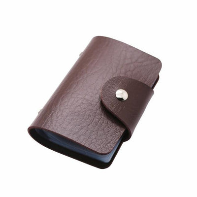 Unisex 24 Bits Leather Card Case - brown