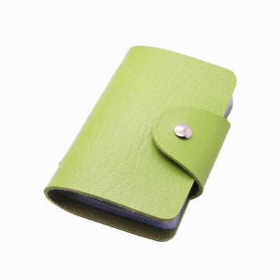Unisex 24 Bits Leather Card Case - green