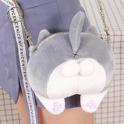 Fluffy Cat Butt Bag - Grey