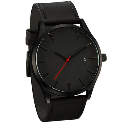 Leather Quartz Wrist Watch - Black + Black
