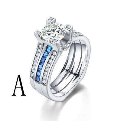 Crystal Couple Wedding Ring Set (2Pcs) - Eight / A