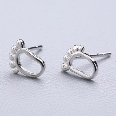 Casual Silver Stud Earrings - Ankle