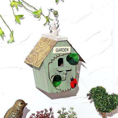 Wooden Bird House - Army Green / 15X12X20CM
