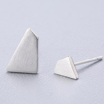 Casual Silver Stud Earrings - Asymmetrical Puzzle