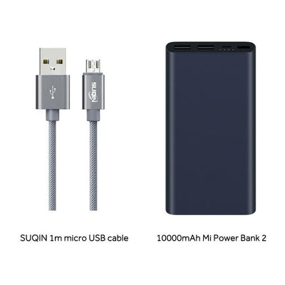 Dual-USB 10000 mAh Mi Power Bank - Black - MicroUSB