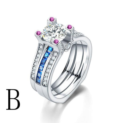 Crystal Couple Wedding Ring Set (2Pcs) - Eight / B
