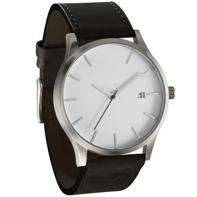 Leather Quartz Wrist Watch - Black + White