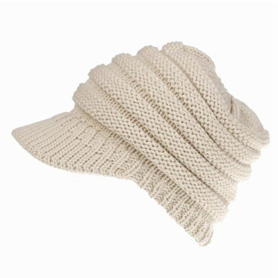 Ponytail Warm Knitted Beanie With Visor - Beige