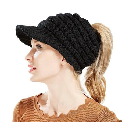 Ponytail Warm Knitted Beanie With Visor - Black