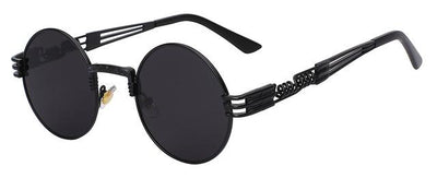 Unisex Steampunk Round Sunglass - Black with black
