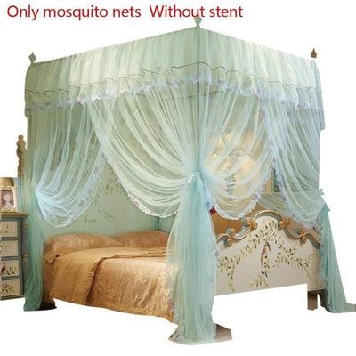 Queen Canopy Bed Curtains - Blue