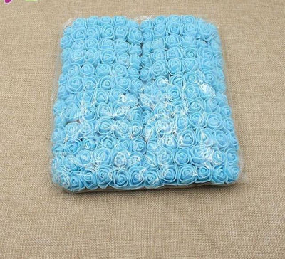 Artificial Small Rose Flower Head (144Pcs) - Blue