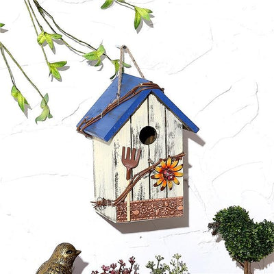 Wooden Bird House - Blue / 15X12X20CM