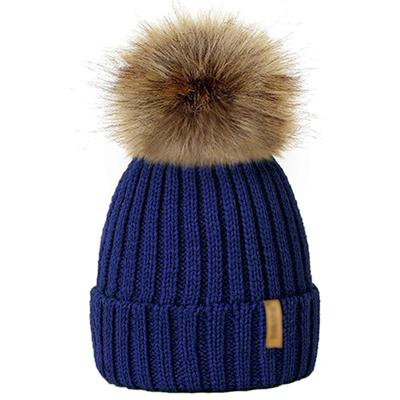 Winter Fur Pom-Pom Hat - Blue