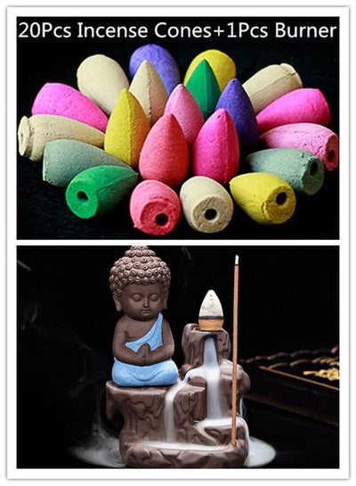 Incense Cones + Burner - Blue with 20 Incense