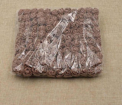 Artificial Small Rose Flower Head (144Pcs) - Brown