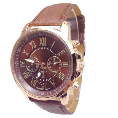 Roman Numerical Dial Leather Watch - Brown