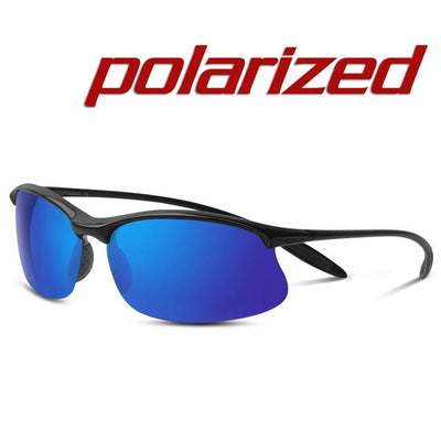 Polarized Sports Sunglasses - Black Blue