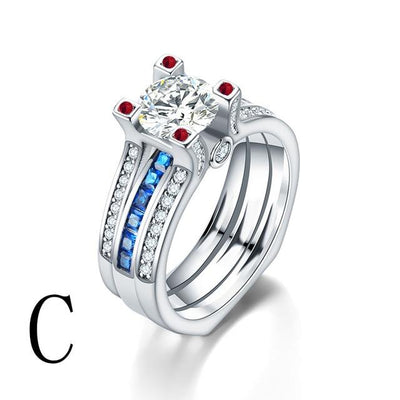 Crystal Couple Wedding Ring Set (2Pcs) - Eight / C
