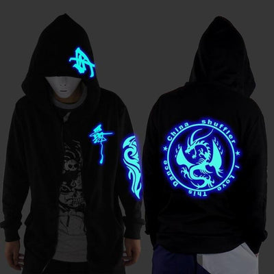 Blue Rave Ghost Hoodie - Circle Dragon / XXS
