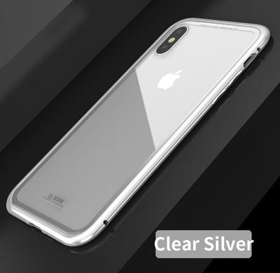 Durable Magnetic Flip Case - iPhone X / Clear Silver