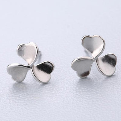 Casual Silver Stud Earrings - Clover