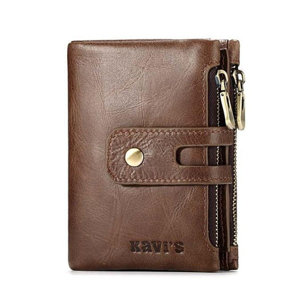 Mens genuine leather wallet - Coffee