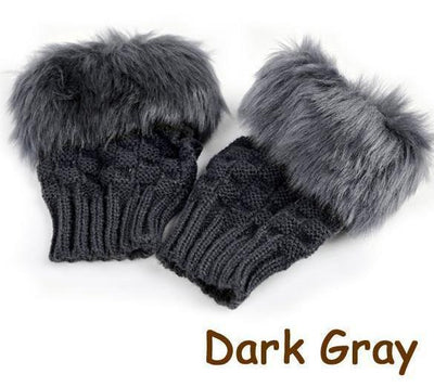 Fluffy Fur Winter Gloves - Dark Grey