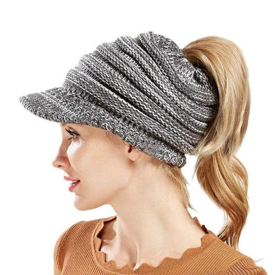 Ponytail Warm Knitted Beanie With Visor - Dark Greywhite