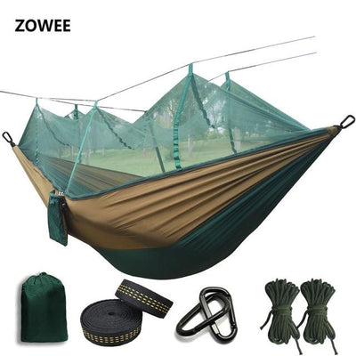 Outdoor Hammock Tent - Dark green and Camel