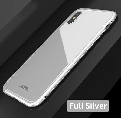 Durable Magnetic Flip Case - iPhone X / Full Silver