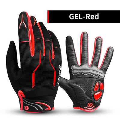 Shockproof Touch Screen Cycling Gloves - GEL Red / M