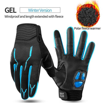 Shockproof Touch Screen Cycling Gloves - GEL Winter Blue / M