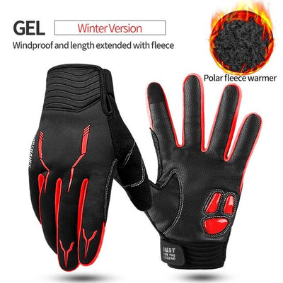 Shockproof Touch Screen Cycling Gloves - GEL Winter Red / M