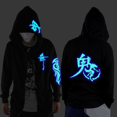 Blue Rave Ghost Hoodie - Ghost Wolf / XXS