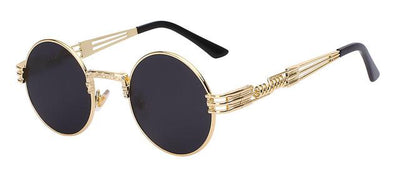 Unisex Steampunk Round Sunglass - Gold with black
