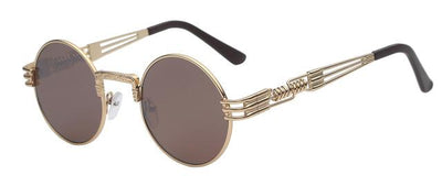 Unisex Steampunk Round Sunglass - Gold with brown