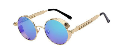 Round Metal Sunglasses - Gold w green mir