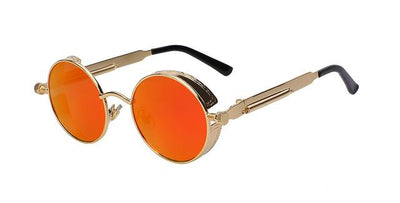 Round Metal Sunglasses - Gold w red mirror