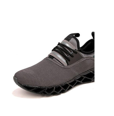 Breathable Athletic Shoes - Gray Mesh / 6.5